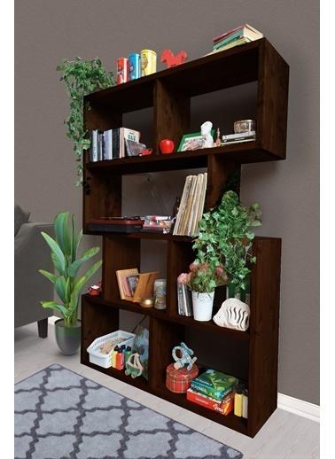 Woodesk Masif Ağaç Ceviz Renk 180×125 Kitaplık Renksiz